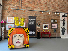 Tribute Cube painted by Jules Muck, with artwork by Judy Chicago, Tracy Emin, Kerry James Marshall, Yayoi Kusama and Blek le Rat