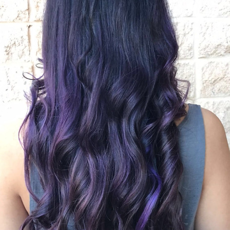 Partial highlight with vivid purple lowlights/overlay, haircut, blowdry and style.   Leilani Artistry Studio - Coral Springs, Florida   Broward County's best hair and makeup salon.