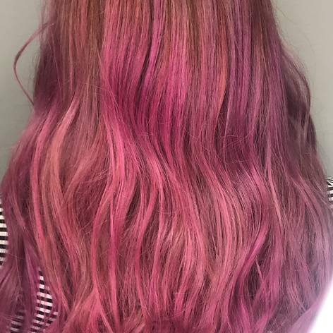 Bleach and tone with vivid pink overlay, haircut, blowdry and style.   Leilani Artistry Studio - Coral Springs, Florida   Broward County's best hair and makeup salon.
