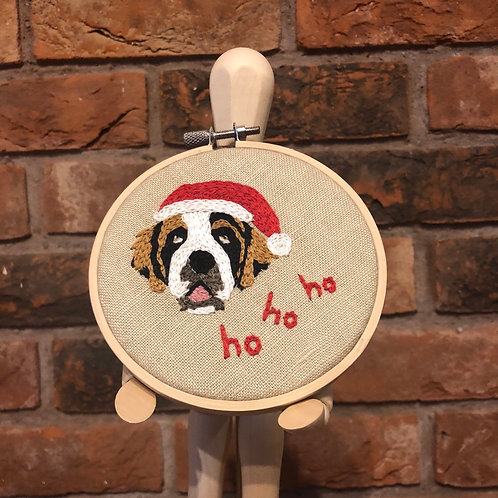 Christmas St Bernard Embroidery