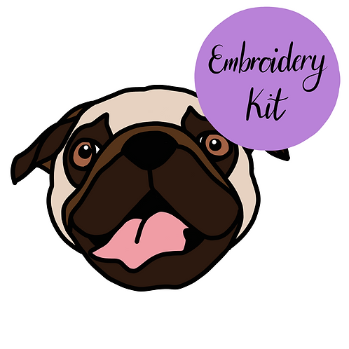Pug embroidery kit for beginners