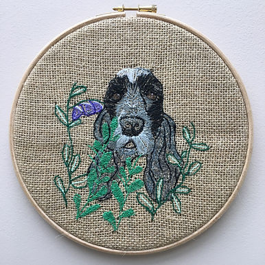 Embroidered pet portrait of Spaniel