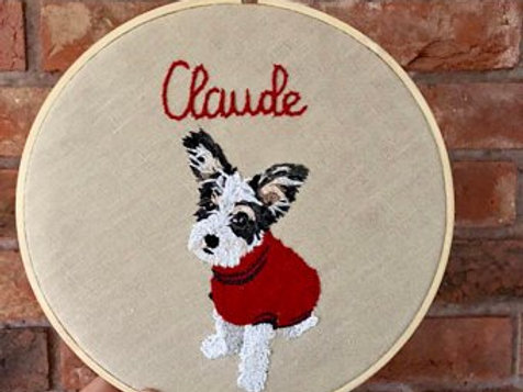 Personalised pet embroidered wall art 8inch