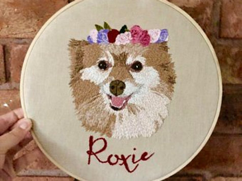 11inch Personalised Pet embroidered wall art