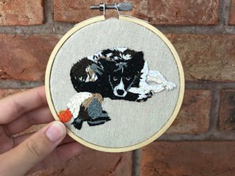 Personalised pet embroidered 4inch wall art