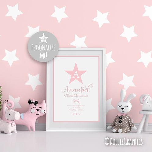 Personalised Star Birth Print