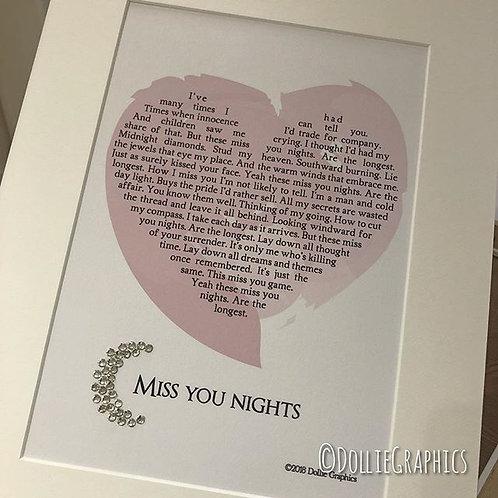 Personalised Heart Lyric Print