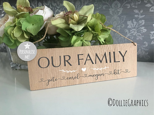 Personalised Family Oak Hanging Plaque