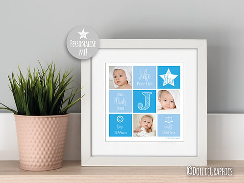 Personalised Square Birth Print