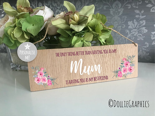 Personalised Oak Hanging Plaque - Floral Mum