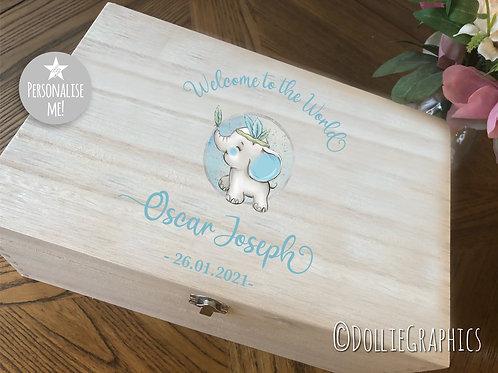 Personalised Baby Blue Elephant Keepsake Box