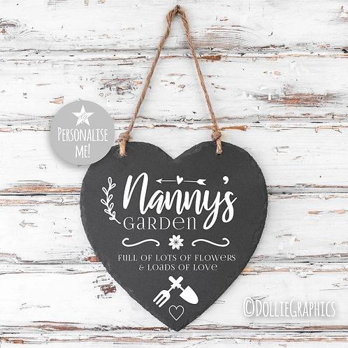 Personalised Nanny Slate Heart
