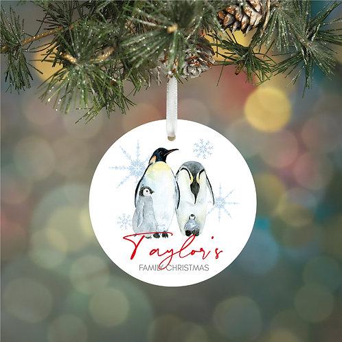 Personalised Family Penguin Decoration
