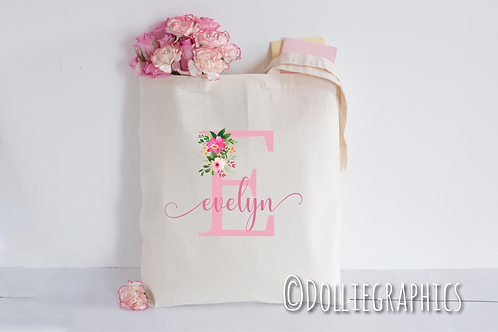 Personalised Initial Floral Shopper Tote Bag