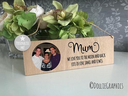 Personalised Oak Hanging Plaque Mum