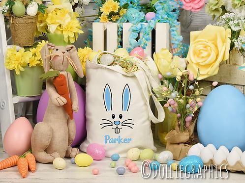 Personalised Blue Easter Rabbit Bag