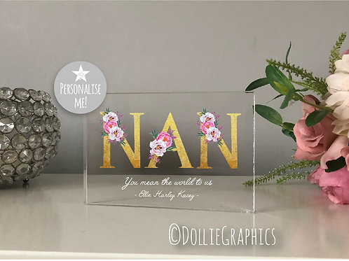 Personalised NAN Floral Text