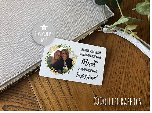 Personalised Pocket Wallet Card - Mum