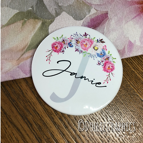 Personalised Floral Coaster with Initial & Name