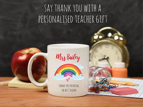 Personalised Rainbow Teacher Mug