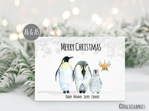 Personalised Penguin Family Christmas Card