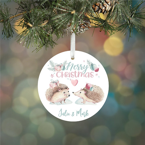 Personalised Couples Hedgehog Decoration Bauble