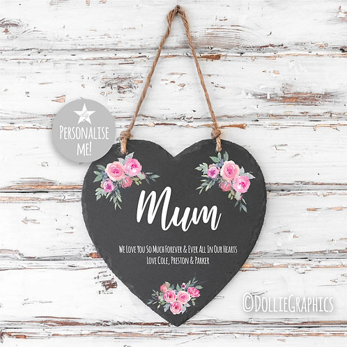 Personalised Floral Mum Slate Heart