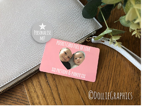 Personalised Pocket Wallet Card - Heart