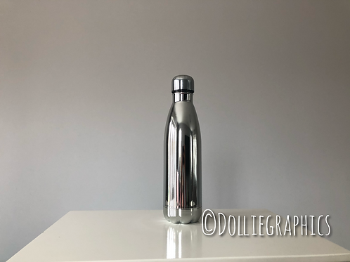 Personalised Metallic Silver Insulated Bottle
