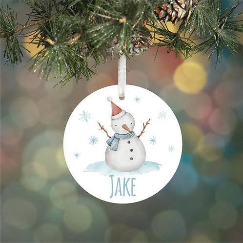 Personalised Snowman Decoration Bauble