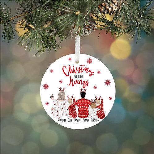 Personalised Family Reindeer Christmas Ceramic Decoration