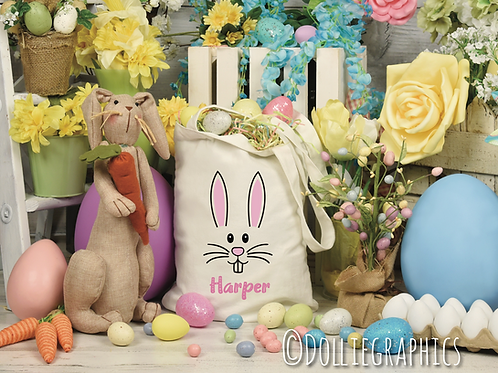 Personalised Pink Bunny Easter Bag