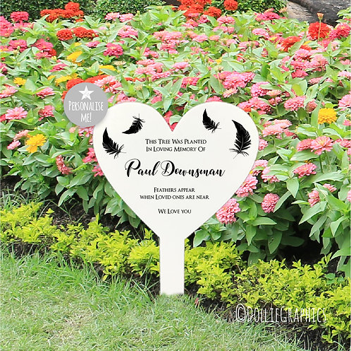 Personalised Heart Grave Marker -Feather