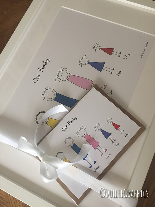 Personalised stick people print A4