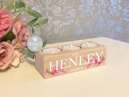 Personalised Cherry 3 Candle Tealight Holder