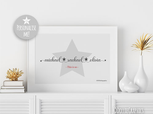 Personalised Family Star Print