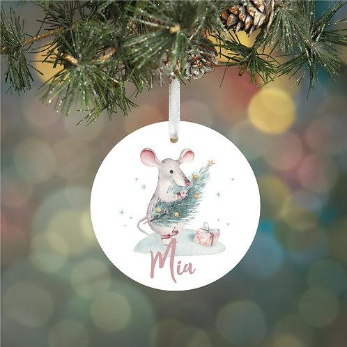 Personalised Woodland Mouse Decoration Bauble