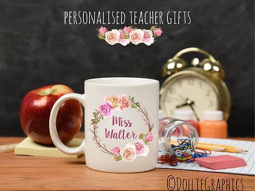 Personalised Floral Wreath Teacher Mug