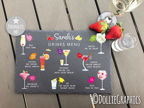 Personalised Cocktail Garden Slate Board