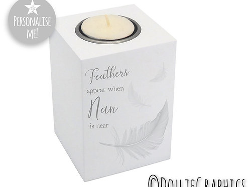 Personalised Tealight Holder - Feathers
