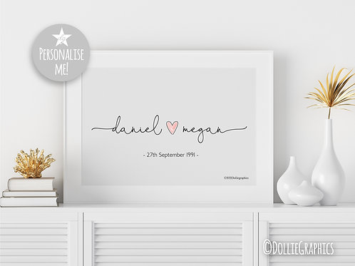 Personalised Couples Name Art