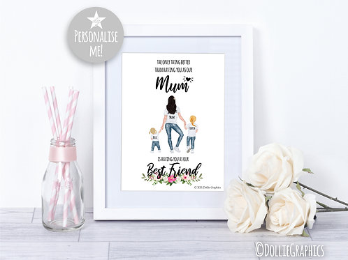 Personalised Mum-Best Friend Print