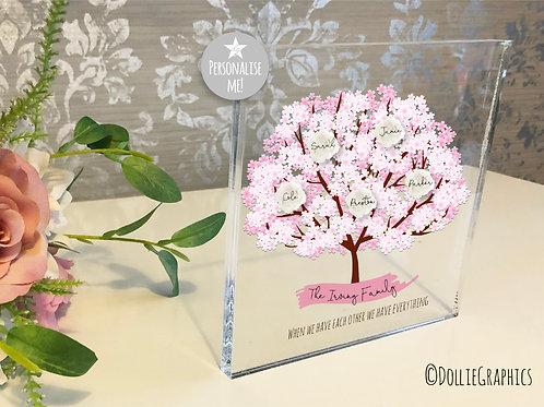 Personalised Family Tree Acrylic Block