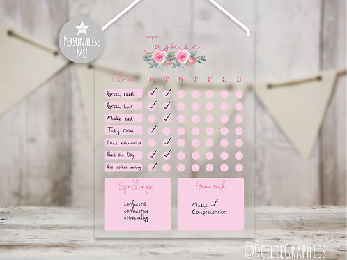 Personalised Chores Chart - Pink