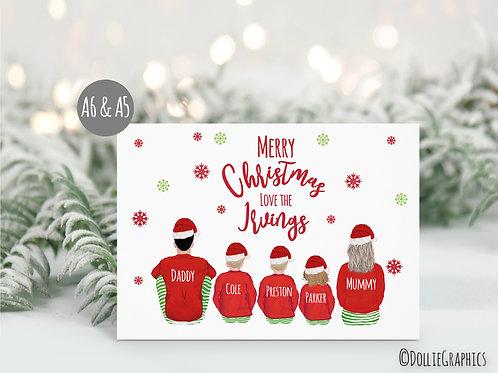 Personalised Santa Family Christmas Card