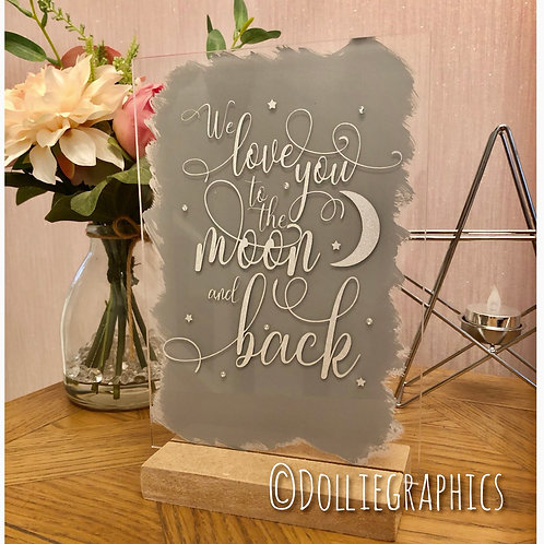 Acrylic Moon and Back Plaque