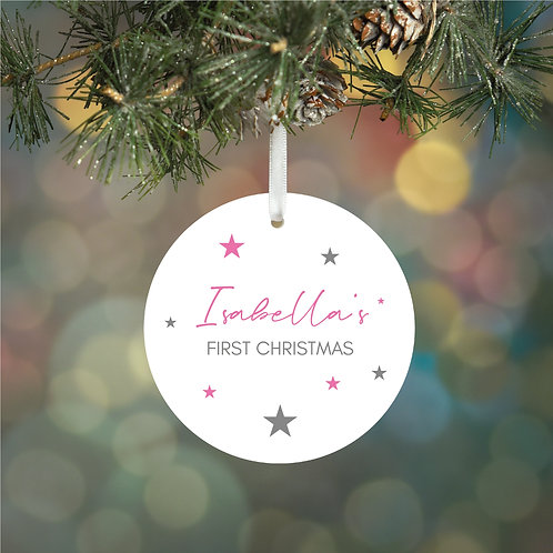 Personalised First Christmas Ceramic Decoration