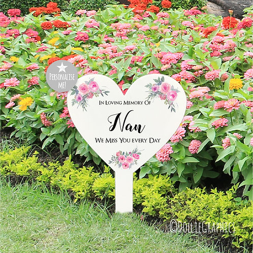 Personalised Heart Grave Marker - Pink Floral