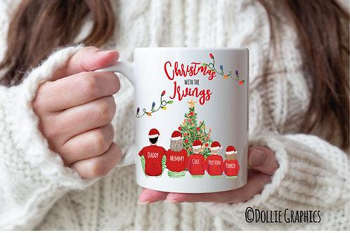 Personalised Family Christmas Santa Mug