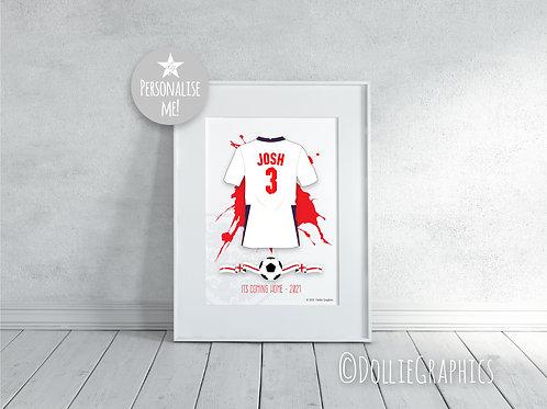 Personalised ENGLAND Football Print